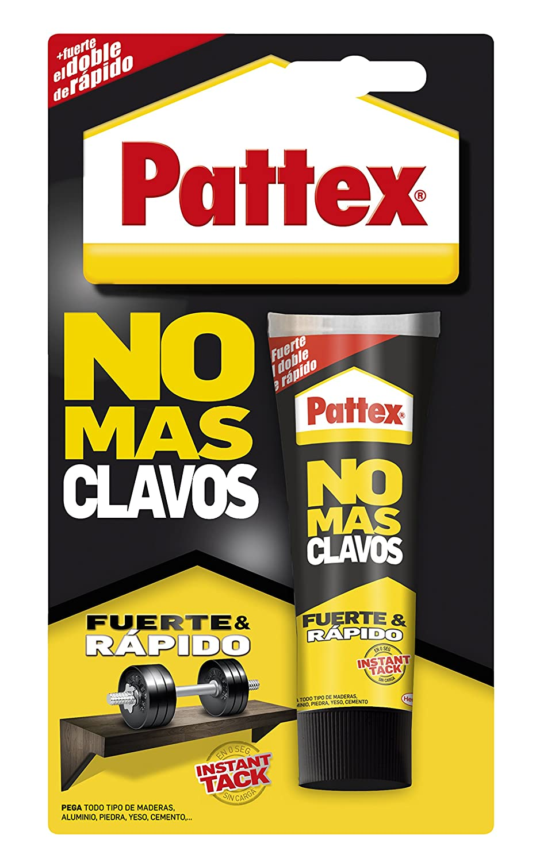 Pattex No Más Clavos Original, adhesivo de montaje resistente, pegamento extrafuerte para madera, metal y más, adhesivo blanco instantáneo, 1 tubo x 100 g: ...