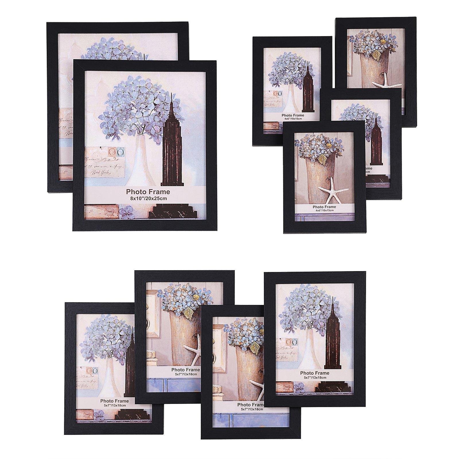 SONGMICS Picture Frames Set of 10 Frames with Glass Front - Two 8x10 in, Four 5x7 in, Four 4x6 in, Collage Photo Frames Wood Grain Black URPF10B by SONGMICS