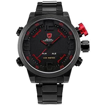 SHARK Men s Sport LED Quartz Stainless Steel Band Wrist Watch Date Day  Alarm SH105 0734a5e7204