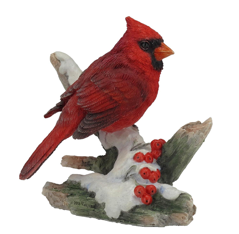 4.25 Inch Cardinal Bird on Snowy Branch Decorative Figurine, Red