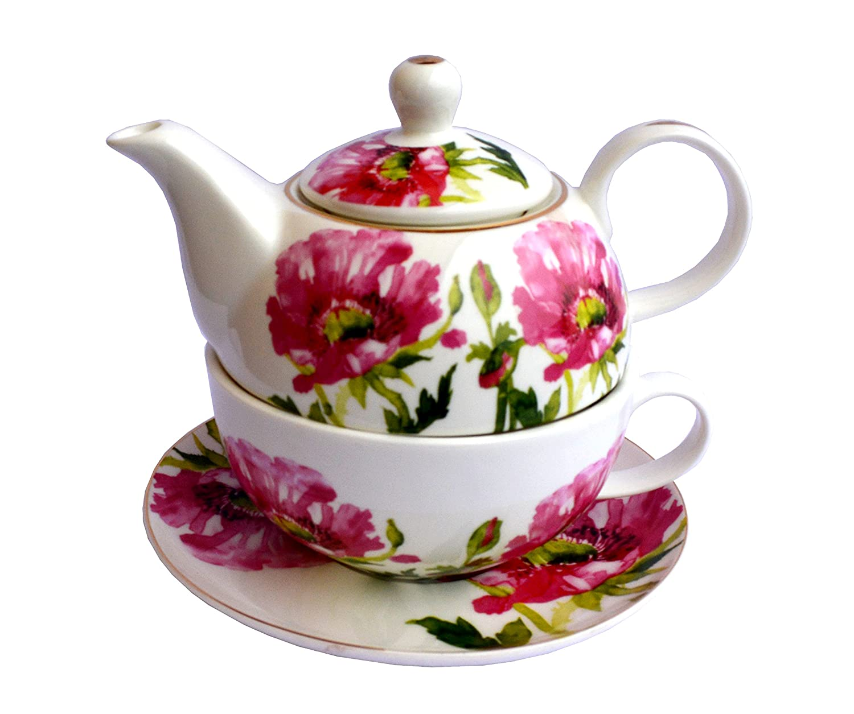 Teeset TEA FOR ONE Teekanne mit Tasse Porzellan drei Varianten zum Auswahl NEU&OVP (Muster 1) APM