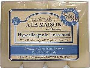 A La Maison Premium Soap, Hypoallergenic Unscented, 4 Bars, Pack of 3