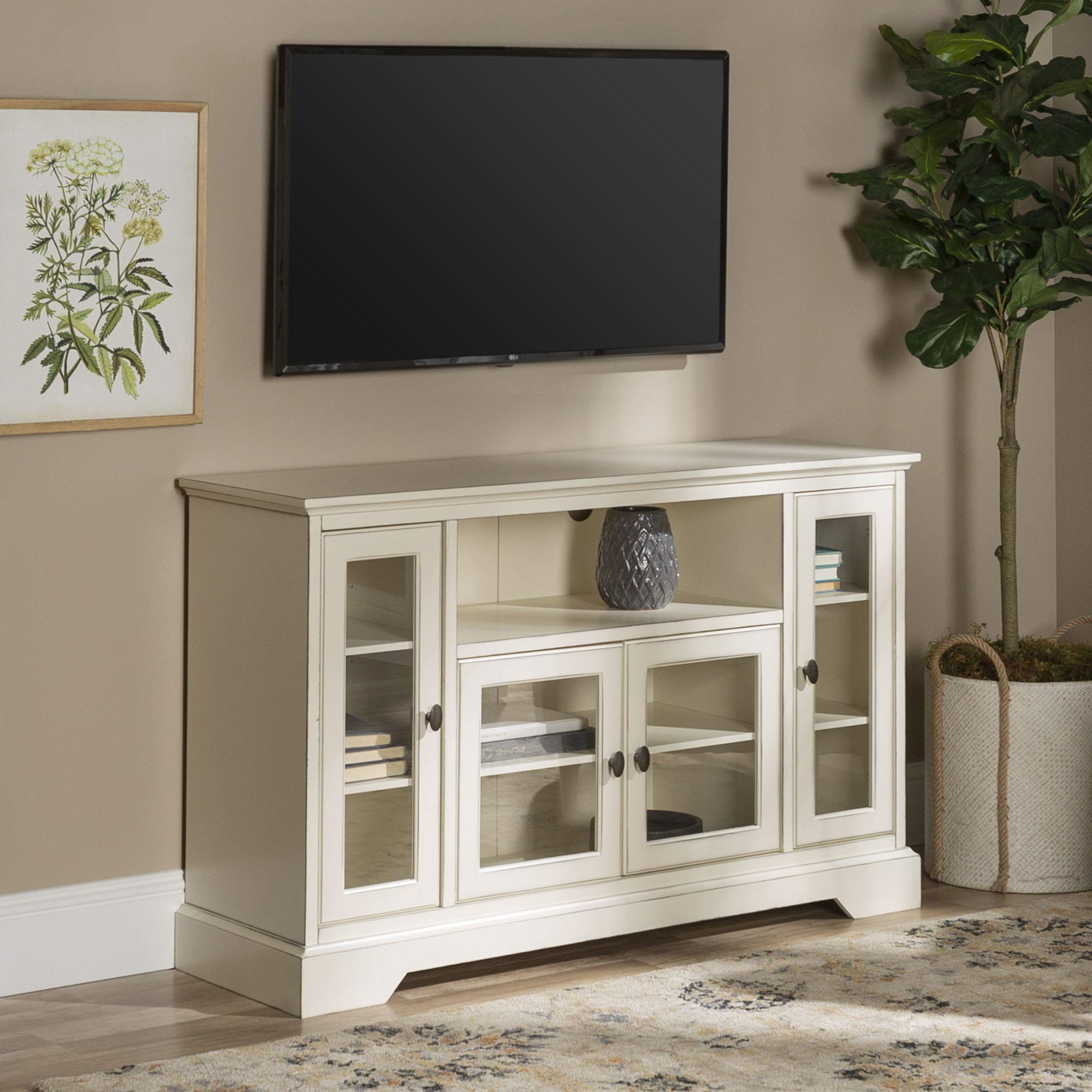 WE Furniture AZ52C32AWH Traditional Wood Stand for TV's up to 56'' Living Room Storage, 52'', White by WE Furniture