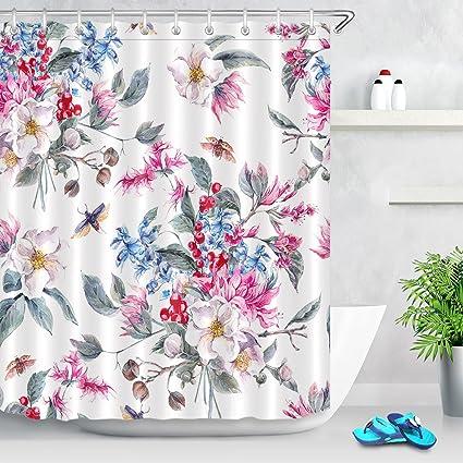 LB Flores Cortina de Ducha Pintada a Mano, Colorido, Patrón de Flores Tela de