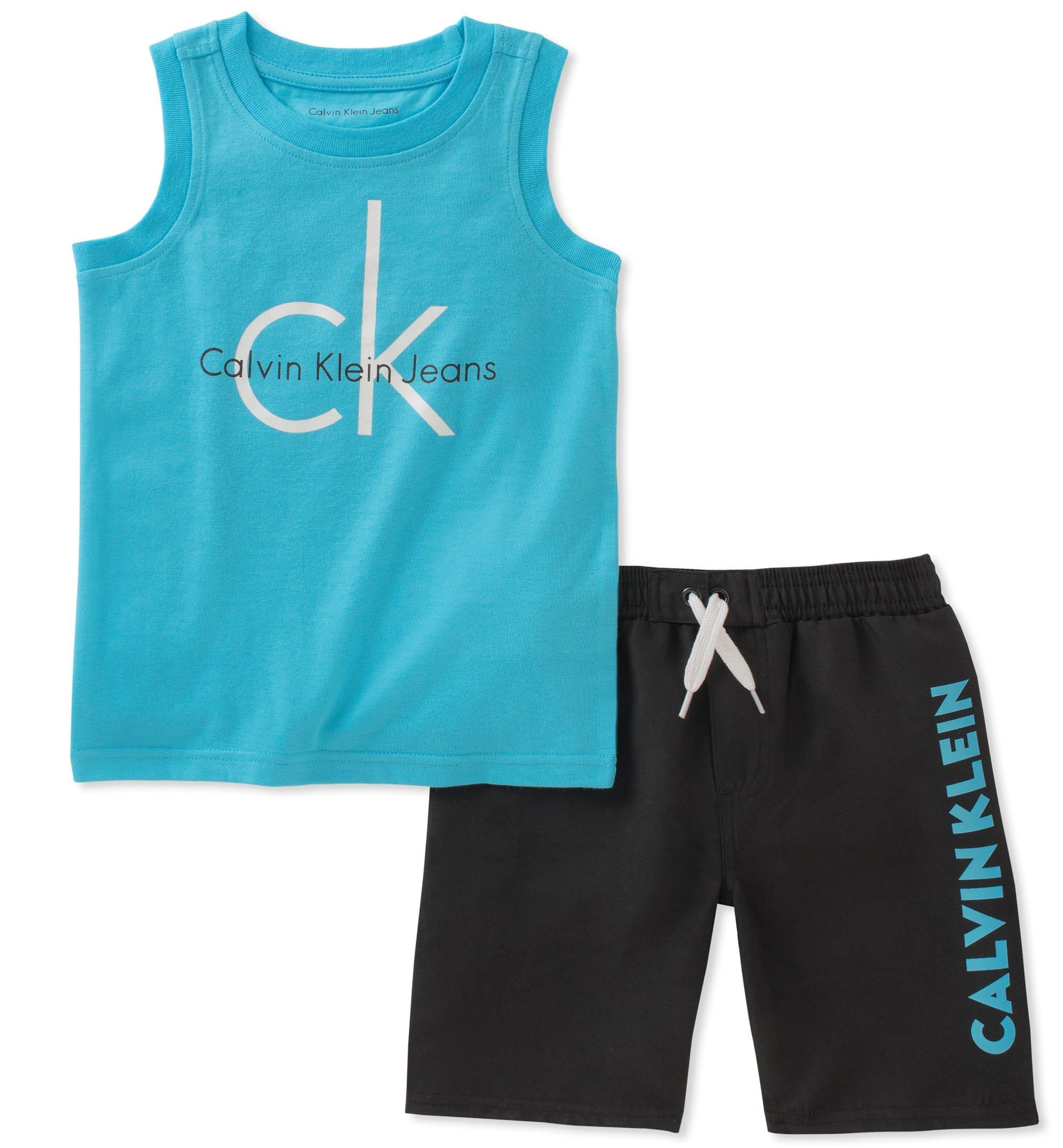 Calvin Klein Boys 2 Pieces Muscle Top Shorts Set, Blue/Black 12
