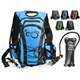 Hydration Backpack With 2.0L TPU Leak Proof Water Bladder- 600D Polyester -Adjustable Padded Shoulder, Chest & Waist Straps- Silicon Bite Tip & Shut Off Valve- Daypack For Cycling & Hiking