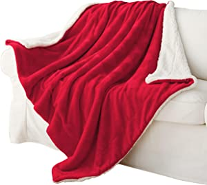 """Exclusivo Mezcla 50"""" x 70"""" Large Throw Blanket, Reversible Brushed Flannel Fleece& Plush Sherpa Blanket(Red)- Decorative, Lightweight, Soft and Warm"""