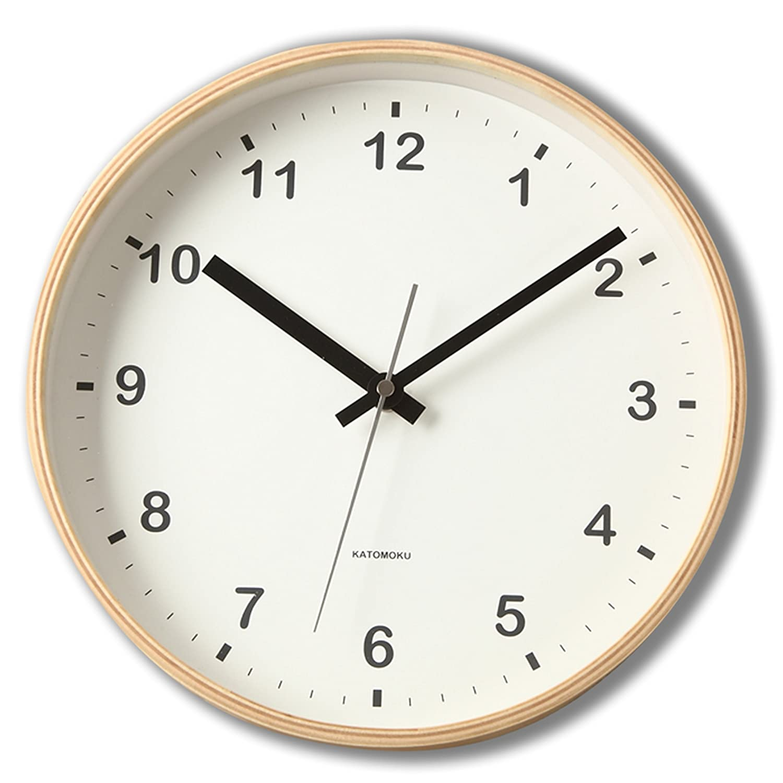 KATOMOKU plywood wall clock ナチュラル 電波時計 連続秒針 km-33MRC φ252mm B01DSNYV4Q