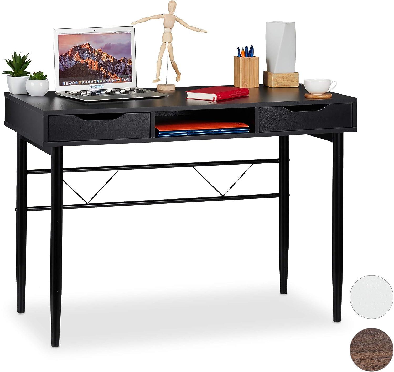 Relaxdays tiroirs et étagère, moderne, cadre en métal,Table de bureau HlP 77x110x55cm, noire, panneau de particules, fer, 77 x 110 x 55 cm