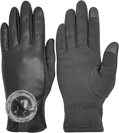 Warm Women PU Leather Gloves Winter Gloves Mittens Gloves Touch Screen Gloves