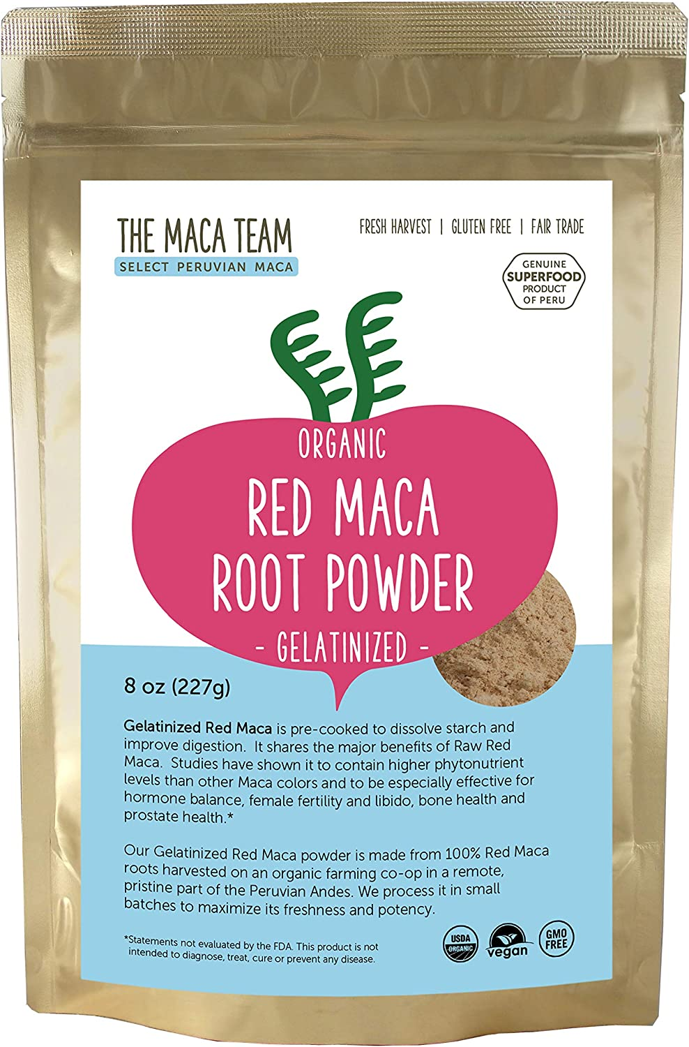 The Maca Team Gelatinized Red Maca Powder, 100% Organic, Fair Trade, GMO-Free Maca Powder, 8 Ounces, 25 Servings