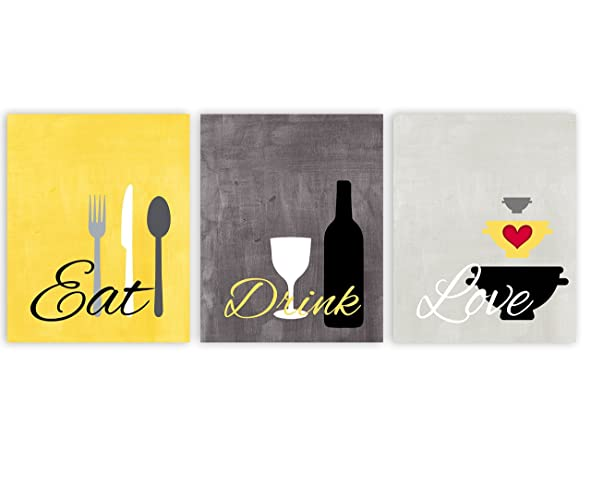 Amazon.com: Eat Drink Love Kitchen Wall Art in Yellow Gray and White ...