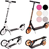 Ultimate iScoot© X50 White Adult City Push Kick Scooter with Large 200MM Wheels, Dual Front and Rear Spring Comfort Suspension, Kick Stand, Mud / Rain Guards and Folding Frame with Carry Stray - Easy to Carry Light Weight Aluminium Kickboard