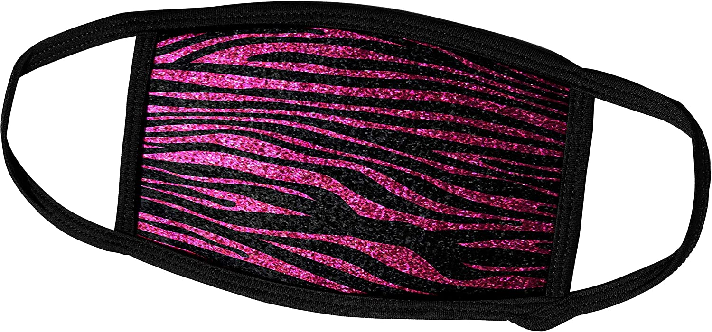 3dRose InspirationzStore Zebra Stripes - Hot Pink and Black Zebra Print Faux Bling Photo Not Actual Glitter Fancy Diva Girly Sparkly Sparkles - Face Masks (fm_113174_3)