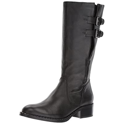 Gentle Souls by Kenneth Cole Women's Brian Mid-calf Boot with Buckle Detail Angled Topline Leather Harness Boot | Mid-Calf