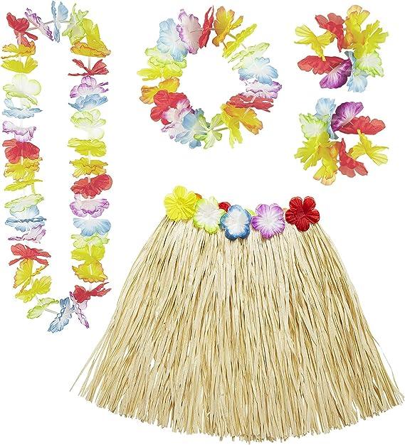 WIDMANN Set Hawaiano 24563 - Falda Hawaiana con cinturón de Flores ...