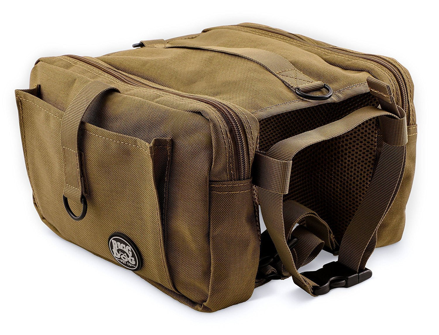RIGG DOG Oxford Canvas Dog Saddle Bag Harness Backpack - Perfect Dog Hiking Pack for Treks, Camping and Hound Travel | Durable, Lightweight, Saddlebags for Medium and Large Dogs (Black)
