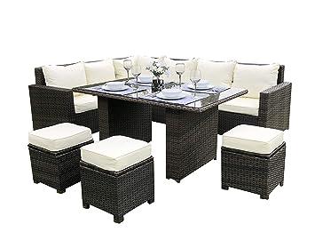 Rattan Outdoor Corner Sofa Dining Set Garden Furniture In Brown