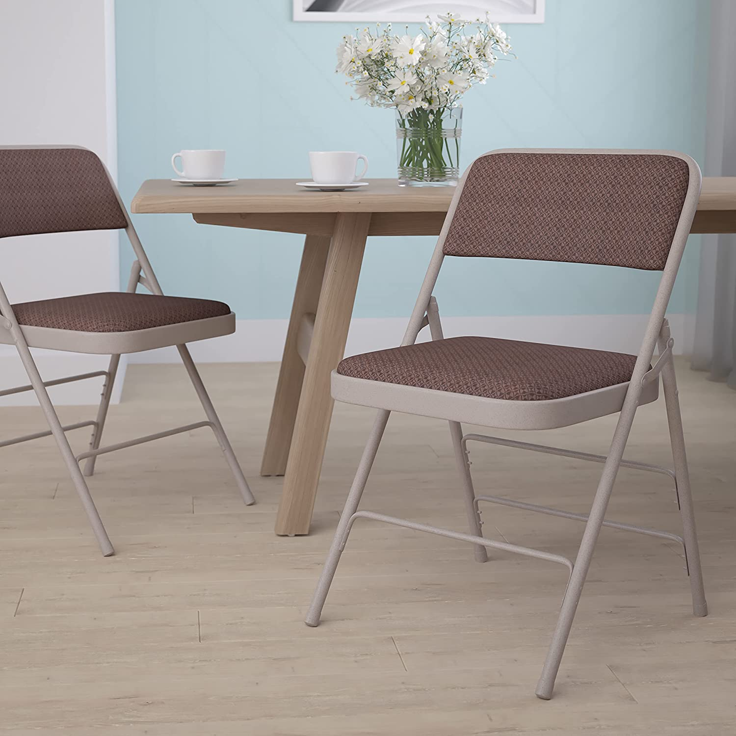 Flash Furniture HERCULES Series Curved Triple Braced & Double Hinged Brown Patterned Fabric Metal Folding Chair