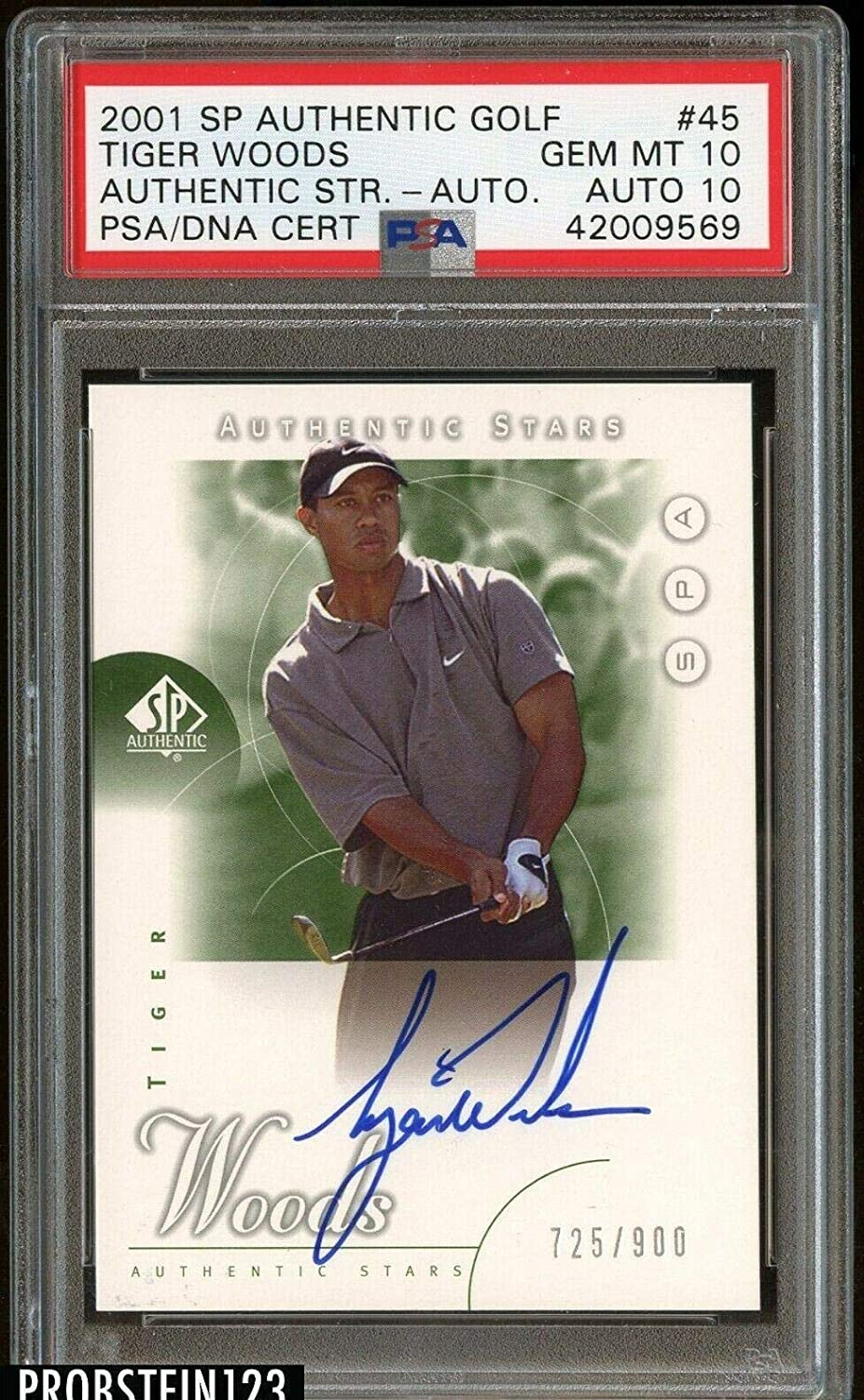2001 Sp Authentic Golf 45 Tiger Woods Rc Rookie Auto 900 10 10