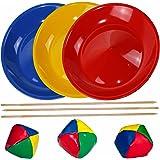 Jonglierteller / Jonglierset / Spieleset / Geschicklichkeitsspiel mit 3 Jongliertellern 3 Stäben und 3 Jonglierbällen, mit Holzstäben