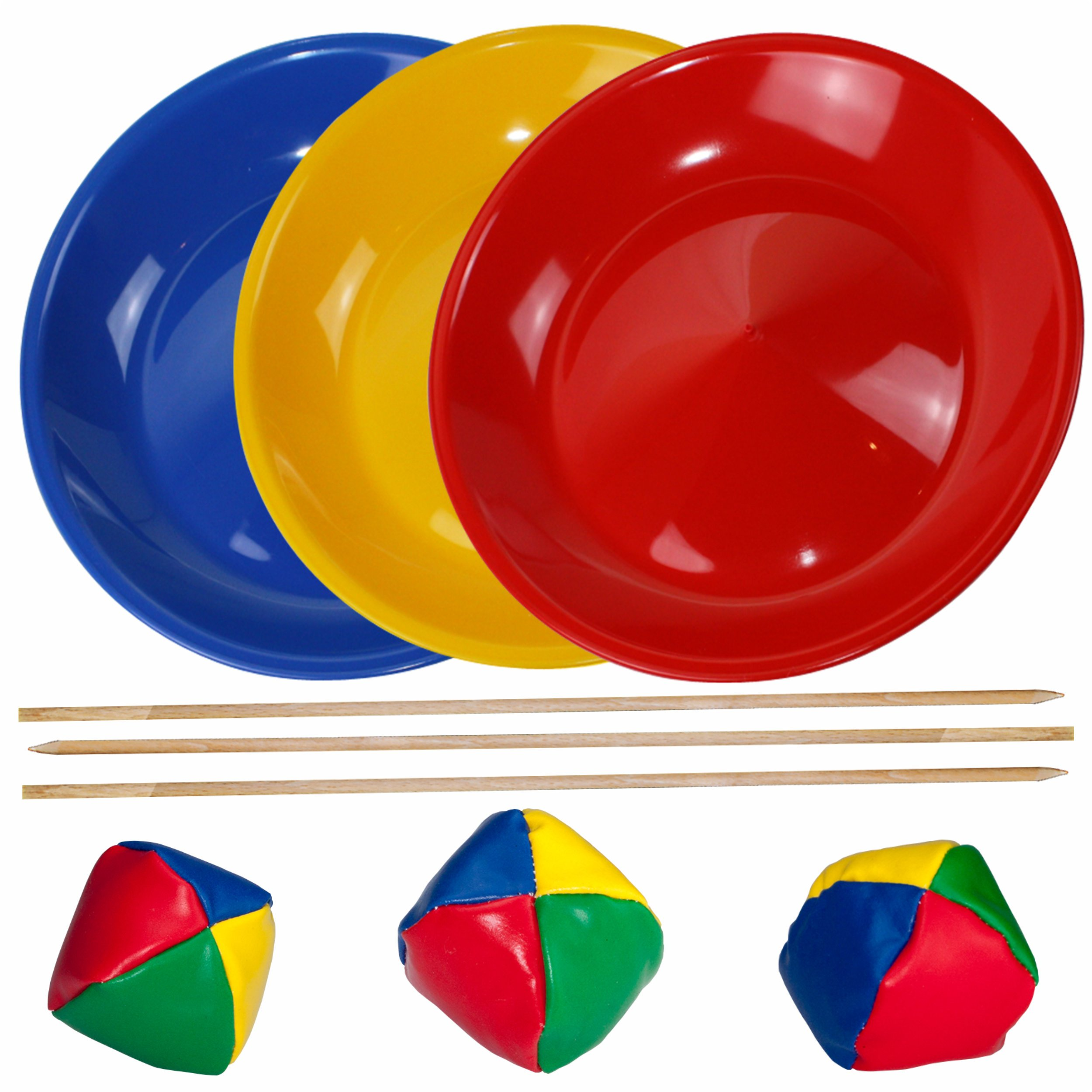 SchwabMarken Juggling Set, 3 Spinning / Juggling Plates with 3 Wooden Sticks and 3 Juggling Balls, Mixed Colours