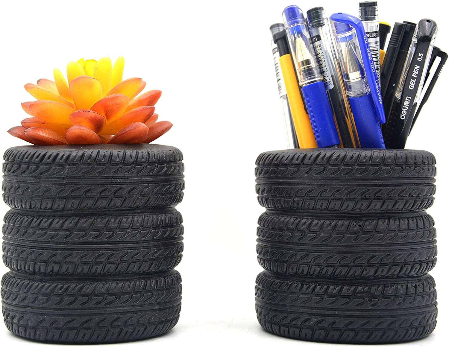 MONMOB Tire Shaped Planter Pen Holder Pencil Holder Home Office Desk Organizer Accessories Succulent Cactus Planter Pot (Pack of 2)