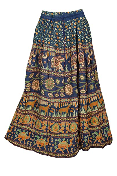 aadc6e0ca64e58 Image Unavailable. Image not available for. Color: Mogul Interior Womens Blue  Maxi Skirt Gypsy Fashion Printed ...