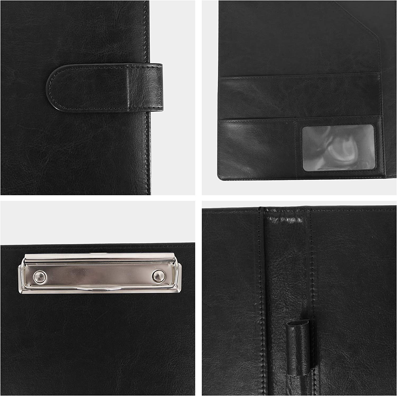GraduatePro Leather Portfolio Clipboard Padfolio Notebook Business Folder with Zipper Document Sleeve Organizer A4 Size Black