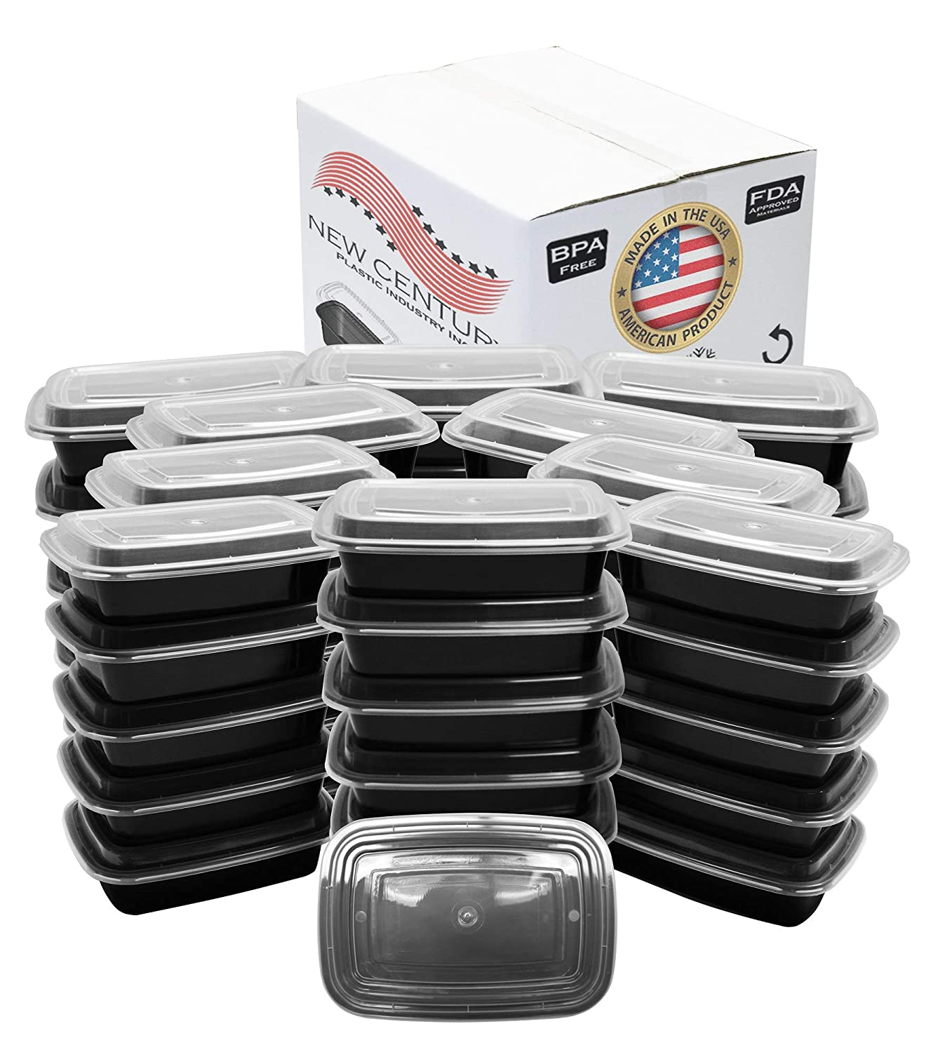 50-Pack [38 oz] 1-Compartment Food Container - Rectangular Meal Prep Bento with Lid - Portable Lunch Box - Stackable - BPA Free - Freezer/Microwave/Dishwasher Safe - Reusable Storage - USA Made