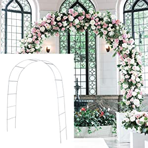 Metal Garden Arbors Wedding Arch Outdoor Indoor Pergola Lightweight Metal Arbor Wedding Garden Arbor Bridal Arch Arbor Party Decoration(White)