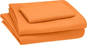 AmazonBasics Kid's Sheet Set - Soft, Easy-Wash Microfiber - Twin, Bright Orange
