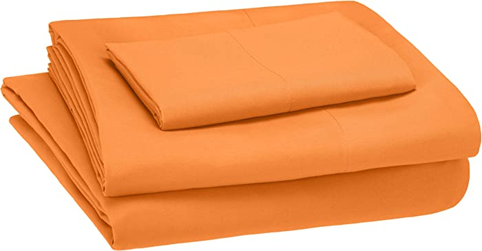 AmazonBasics Kid's Sheet Set - Soft, Easy-Wash Microfiber - Twin, Bright Orange