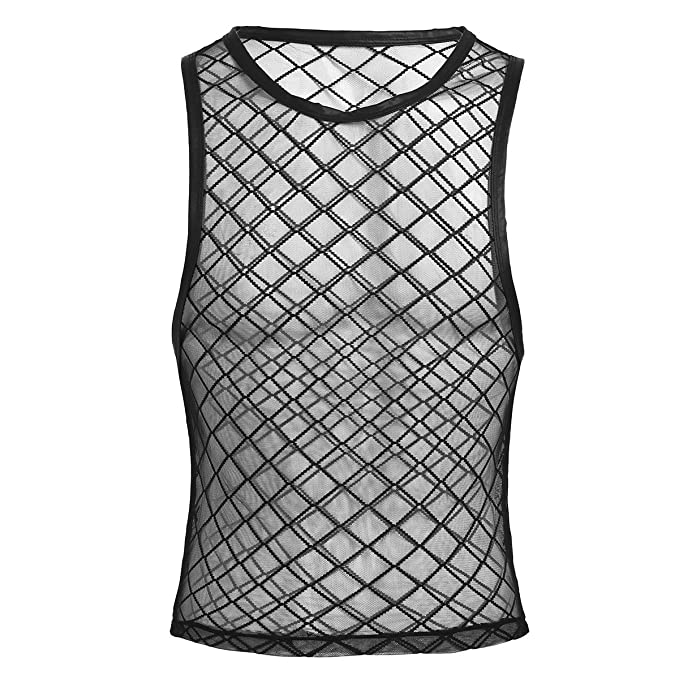 iiniim Herren Tank Top Transparent Netz T-Shirt M/änner /Ärmellos Weste Muskelshirt Fitness Unterhemd M-XXL
