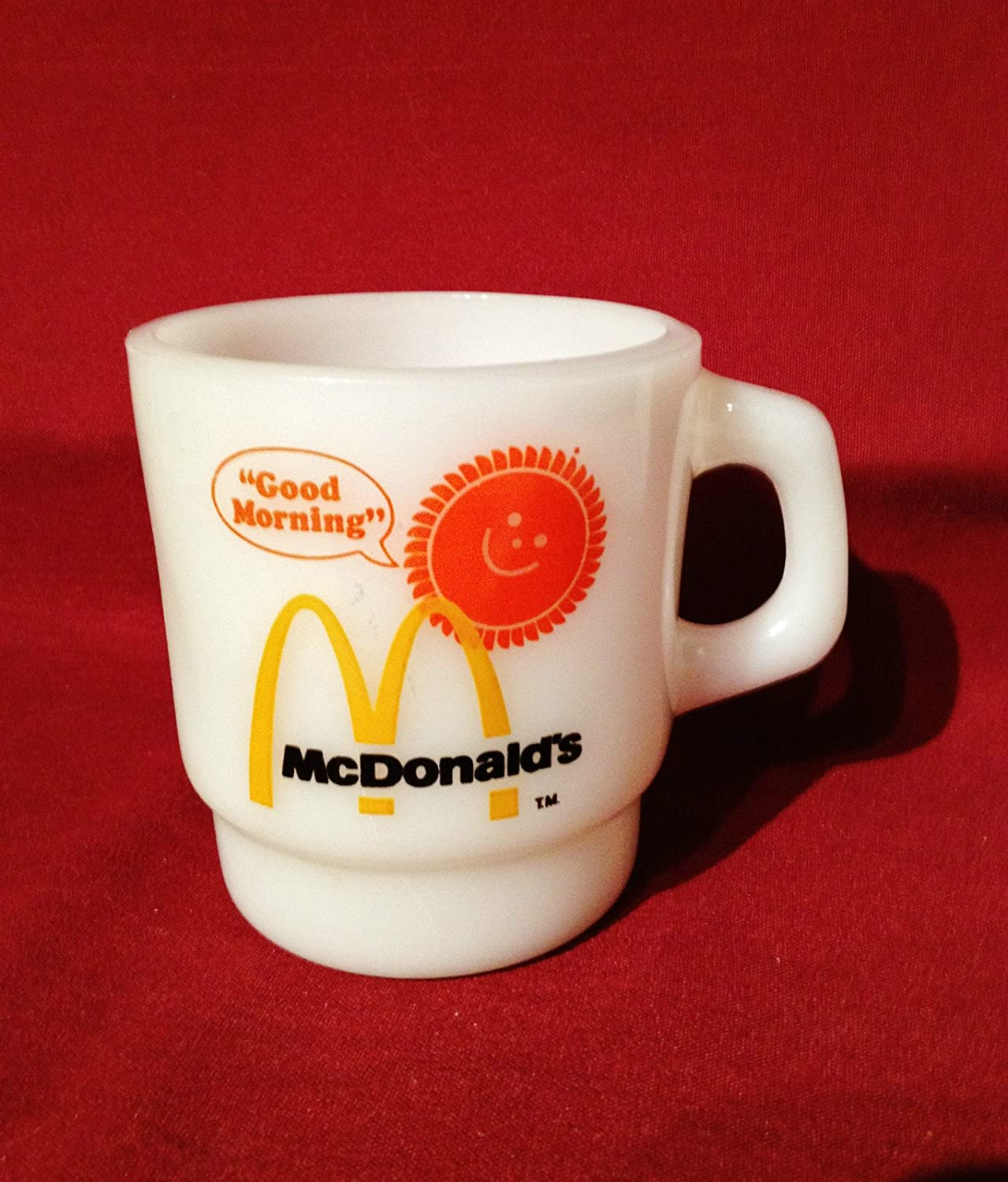 """Collectible Vintage """"Good Morning"""" Mcdonald's Oven-proof Anchor Hocking Milk White Coffee Mug Cup"""
