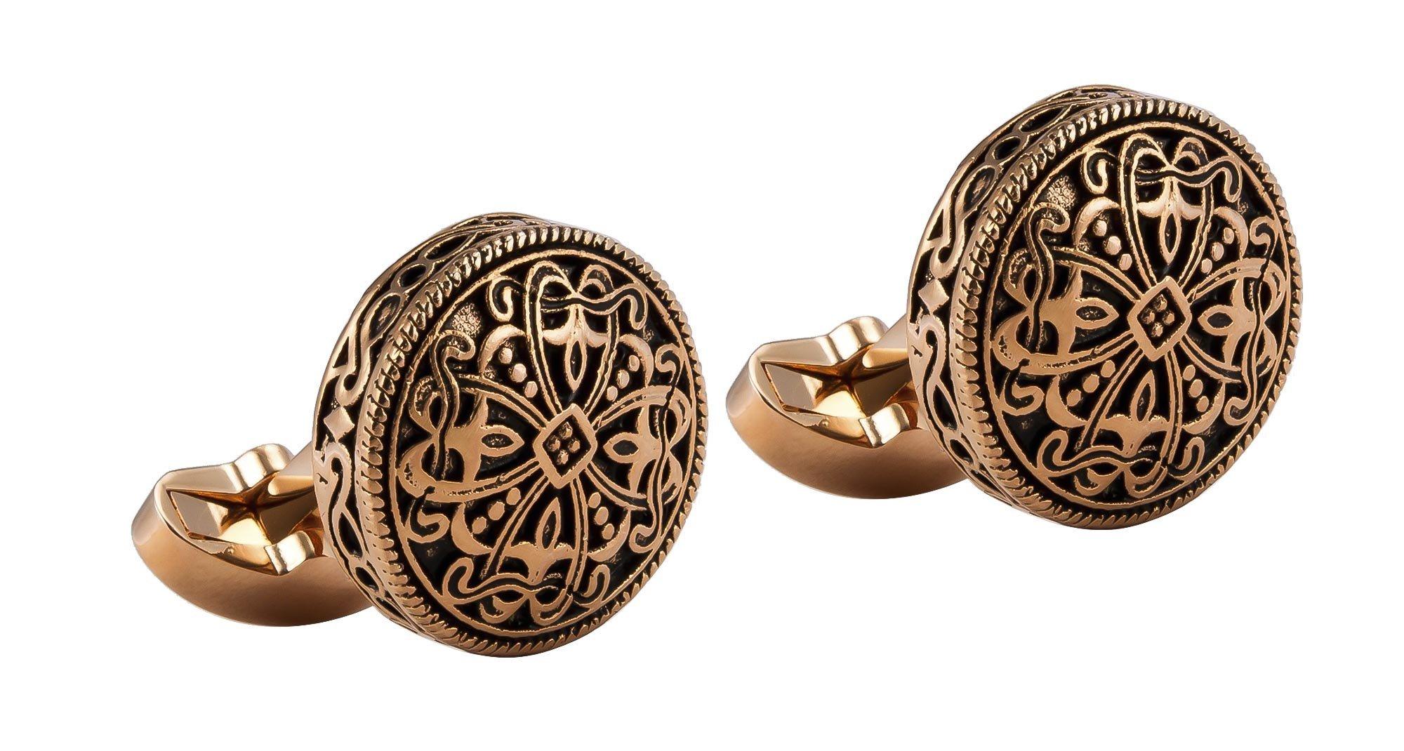 Knighthood Men's Rose Gold Engraving Vintage Cufflinks Gold