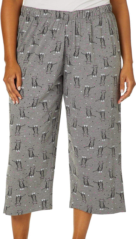 HUE Women's Printed Omaha Mall 2021 new Knit Sleep Pajama Capri Pant