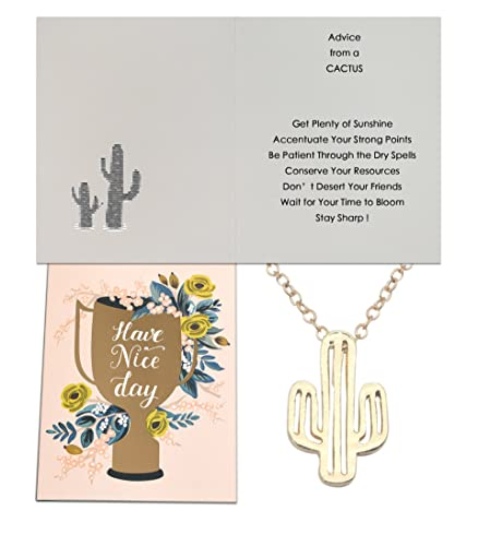 Image Unavailable Not Available For Color Chaomingzhen Cactus Pendant Necklace Girls Advice From A CactusThank You Card Friendship Birthday Gift
