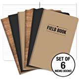 "Field Notebook - 5""x8"" - Combo Colors - Lined Memo Book - Pack of 6"