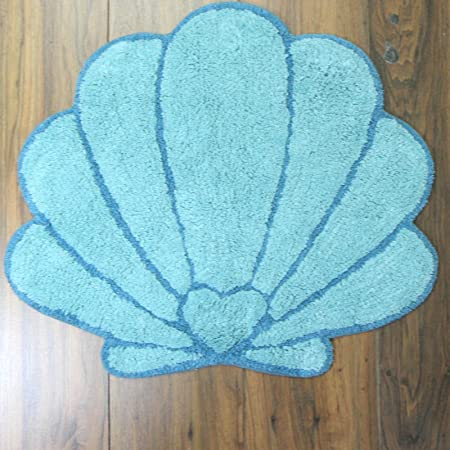 Just Contempo 100 Cotton Blue Sea Shell Bath Mat Amazoncouk