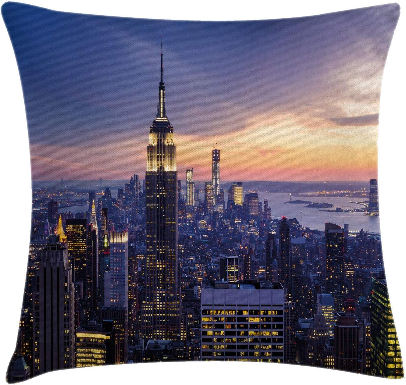 Ambesonne Modern Throw Pillow Cushion Cover, New York City Skyline with Skyscrapers at Sunset Night American Urban Life Image, Decorative Square Accent Pillow Case, 20