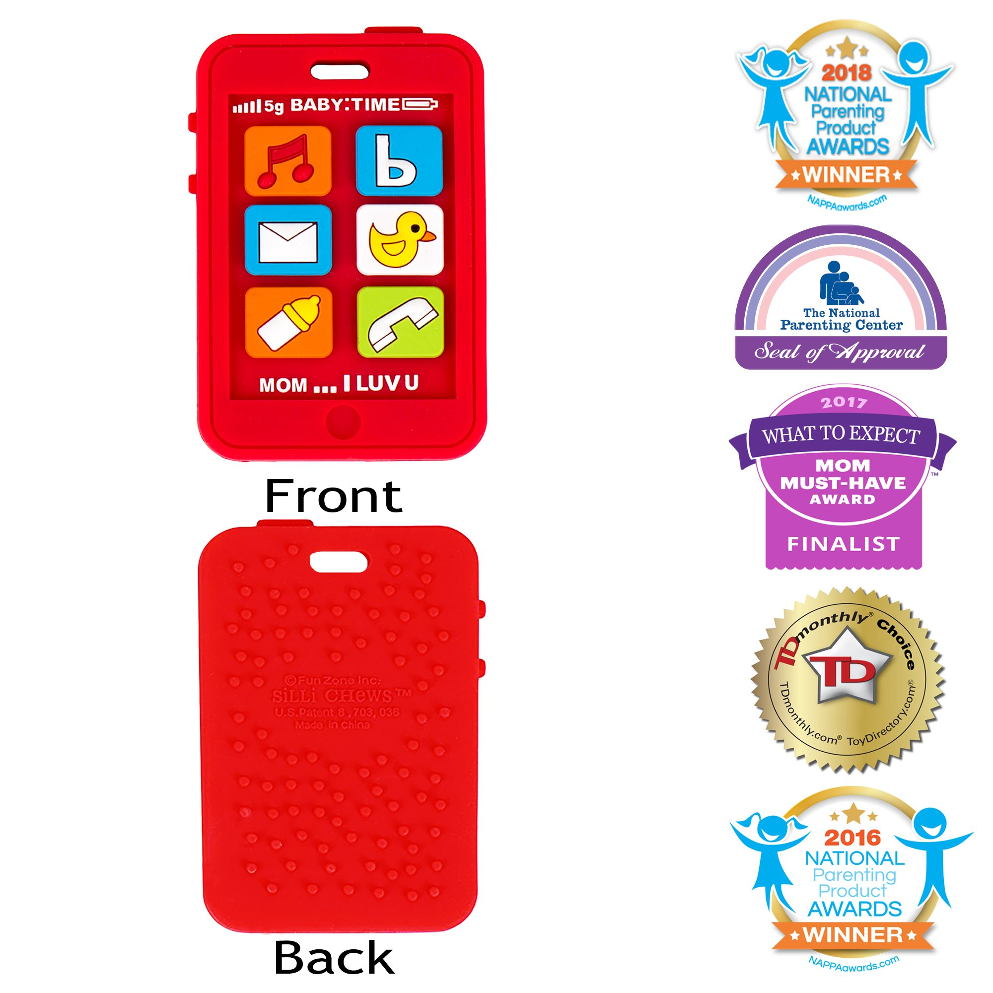 Silli Chews Baby Teether Cell Phone Silicone Teething Toy Infant Pain Relief Apple Red Smart Phone
