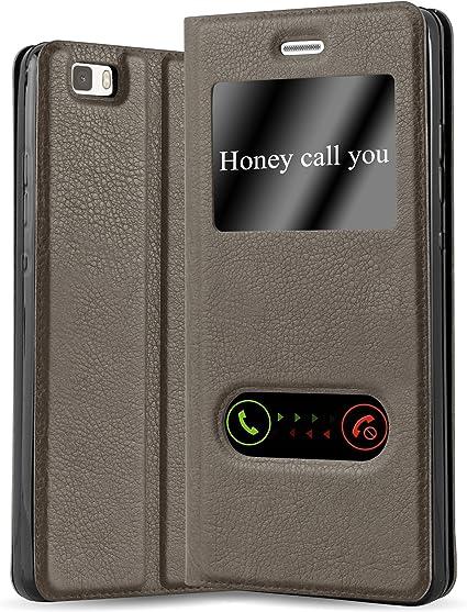 Cadorabo Coque pour Huawei P8 Lite 2015 en Marron Pierre - Housse Protection avec Stand Horizontal et Deux Fenêtres - Portefeuille Etui Poche Folio ...