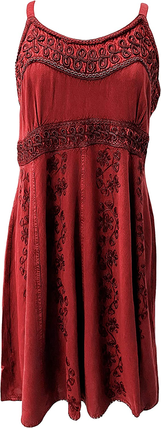 Agan Traders Scoop Neck Bohemian Gypsy Medieval Spaghetti Strap Embroidered Mid Calf Sun Dress