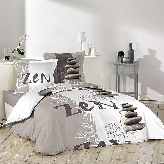 Douceur dIntérieur Galets Zen – Juego de Cama con 2 Fundas de Almohada de algodón, 240 x 220 cm, Multicolor: Amazon.es: Hogar