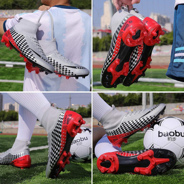WOWEI Chaussures de Football Homme High Top Spike Crampons Profession Athl/étisme Entrainement Chaussures de Sport