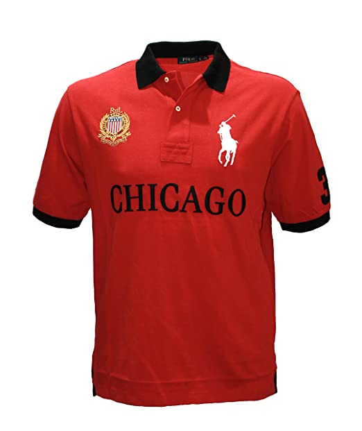 d81a63dd POLO Ralph Lauren Men's Pony shirt Top city CHICAGO Custom Fit big and tall  (2XB