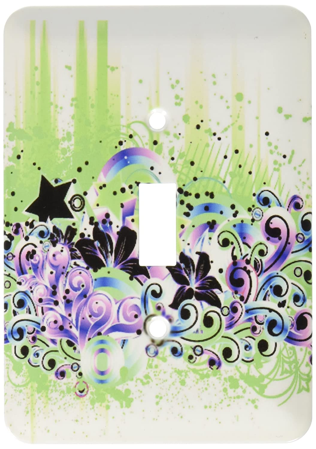 3dRose lsp/_66124/_1 Purple Blue and Lime Green Flowers and Stars Celebration Single Toggle Switch Multicoloured