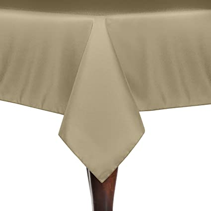 Superieur Ultimate Textile 84 X 84 Inch Square Polyester Linen Tablecloth Camel Light  Brown