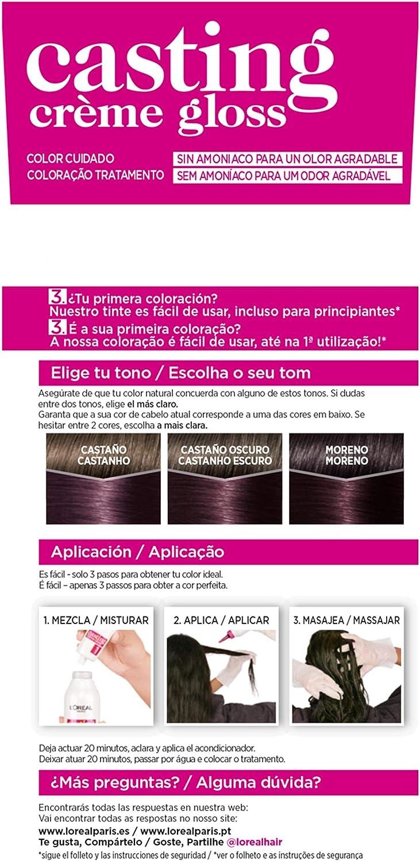 LOreal Paris Casting Crème Gloss Coloración Sin Amoniaco, Tono: 316 Violéin